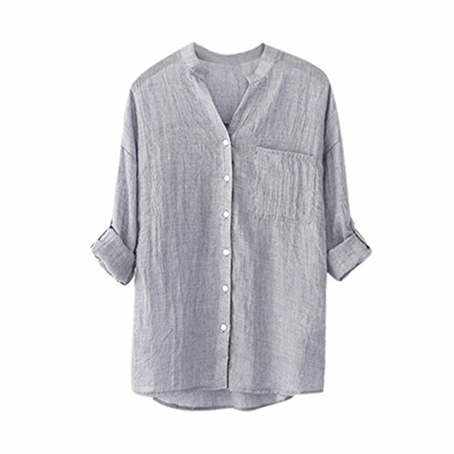 Women's Shirts, FORUU Ladies Long Sleeve Pocket Button Casual Solid Tops Blouses