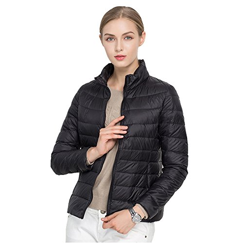 Quibine Black Jacket Short Lightweight Packale Plain Warm Women's Stripe Down Vest 7Fq7rA