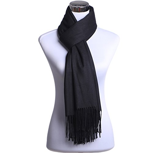 JAKY Global 100% Pure Cashmere Scarf Shawl Super - Black Cashmere Knit Scarf