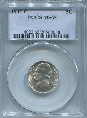 1944 P Jefferson Silver War Nickel. PCGS MS65. - Sports - Nickels Pcgs