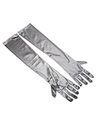RUNHENG Women's Evening Party 17.75 inch Long Sillky Finish Satin Finger Gloves (Silver)
