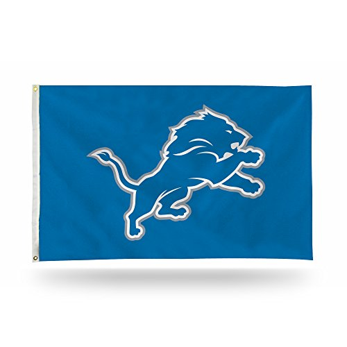 Rico Industries NFL Detroit Lions 3-Foot by 5-Foot Single Sided Banner Flag with Grommets
