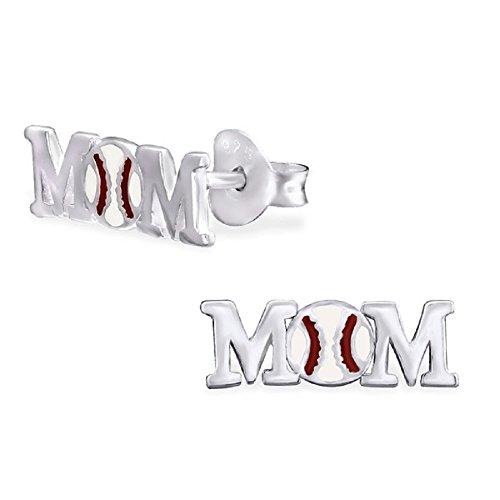 925 Sterling Silver Baseball Mom Stud Earrings 29605