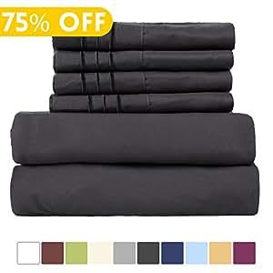 EASELAND 6-Pieces 1800 Thread Count Microfiber Bed Sheet Set-Wrinkle & Fade Resistant,Deep Pocket,Hypoallergenic Bedding set,Queen,Dark Grey