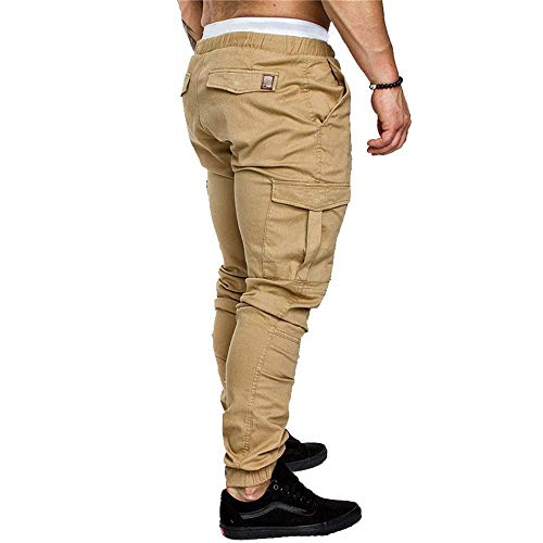 Casual De Jogging poches Simple Sport Couleur Pantalon Avec Stretch Style Homme Multi Cordon Kaki Nvfshreu Unie w16HxzqnOO