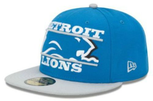 Detroit Lions New Era 5950 Zoom Fitted Size 7 5/8 Hat Cap NFL Authentic & NEW