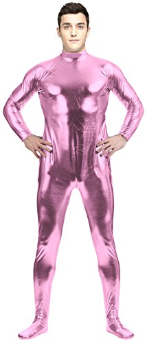 Costume Man Halloween Condom (VSVO Adult Pink Shiny Metallic Unitard Bodysuit Costume Catsuit (Small,)