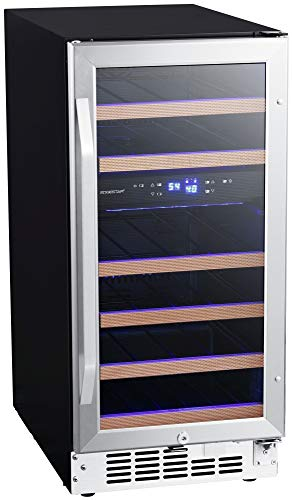 Capacity Dual Zone Wine Cooler - EdgeStar CWR263DZ 15 Inch Wide 26 Bottle Built-In Wine Cooler with Dual Cooling Zones
