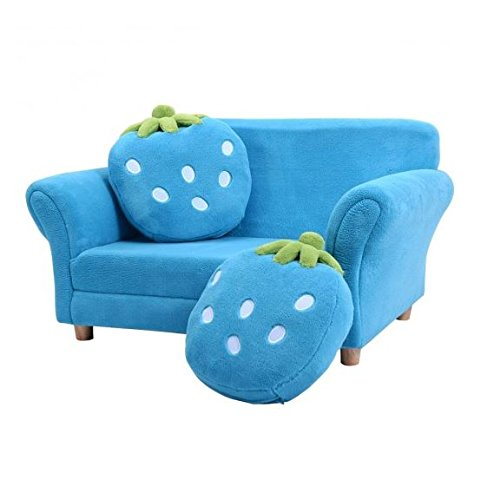 MD Group Kids Chair Sofa Armrest Blue Strawberry Coral Fleece Lighweight Living Room Furniture by MD Group