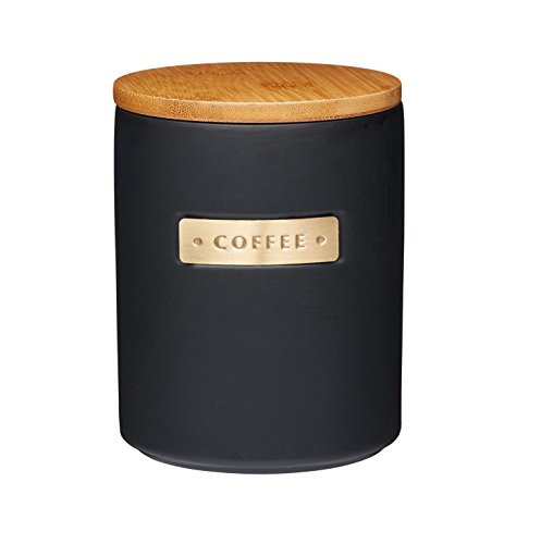 Masterclass Stoneware and Brass Effect Coffee Canister Storage Jar with Bamboo Lid Black 1 Litre 33.81 fl oz ()