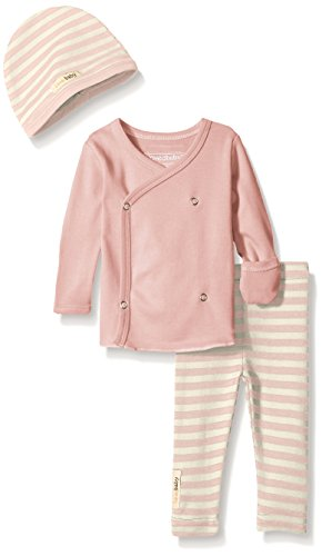 L'ovedbaby Baby Organic Wrap Shirt, Leggings, and Hat Gift Set, Mauve/Beige, 0-3 Months