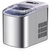 Portable Ice Maker - 2018 New Style Stainless Steel Countertop Ice Maker Machine, Get 9 Ice Cubes in as quick as 6 Minutes,Makes Over 26 lbs of Ice per Day
