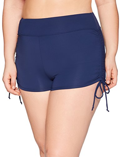 (BEACH HOUSE WOMAN Women's Plus-Size Solid Boy Short Swimsuit Bottom with Adjustable Side Ties, Admiral, 22W)