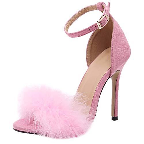 (Wobuoke Women's Open Toe Ankle Strap Stiletto High Heel Dress Sandal Pink)