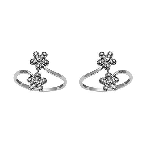 Ring Bypass Flower (Adjustable Sterling Silver Flower Toe Ring For Women Bypass Style)