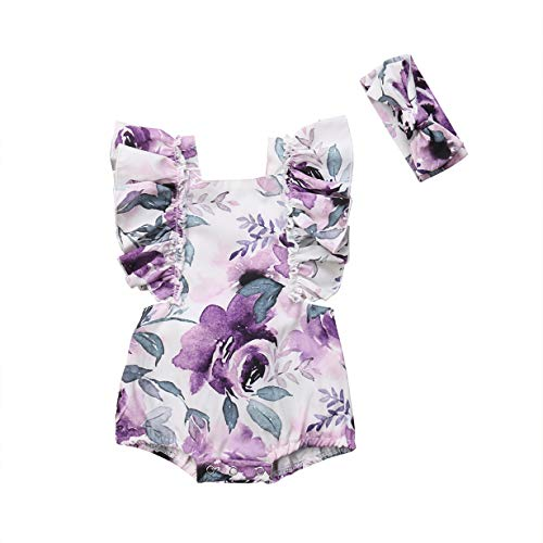 Newborn Baby Girls Sleeveless Floral Romper with Headband Outfits (18-24 Months, Purple)