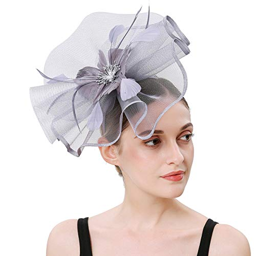 Sinamay Feather Fascinators Womens Pillbox Flower Derby Hat for Cocktail Ball Wedding Church Tea Party (Silver Grey)