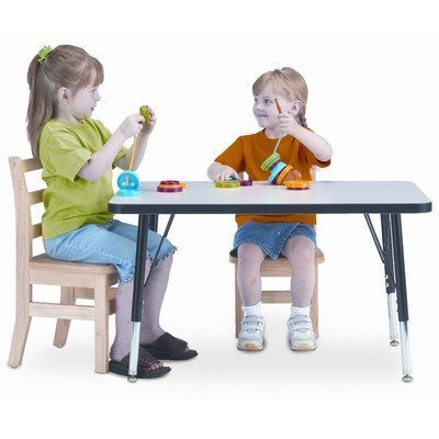 KYDZ Suite Rectangular Activity Table Tabletop and Side Color: Gray with Green, Size: Rectangle - 30