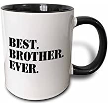 3dRose (mug_151482_4) Best Brother Ever - Gifts for brothers - black text - Two Tone Black Mug, 11oz