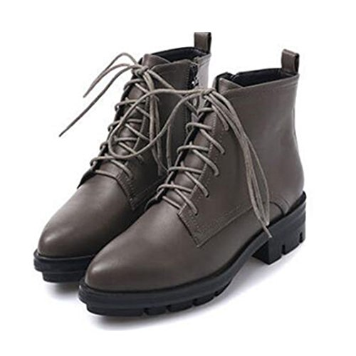 Aksautoparts Autumn winter short women boots retro casual shoes Thick heels Martin boots Grey M3iTlIpe3S