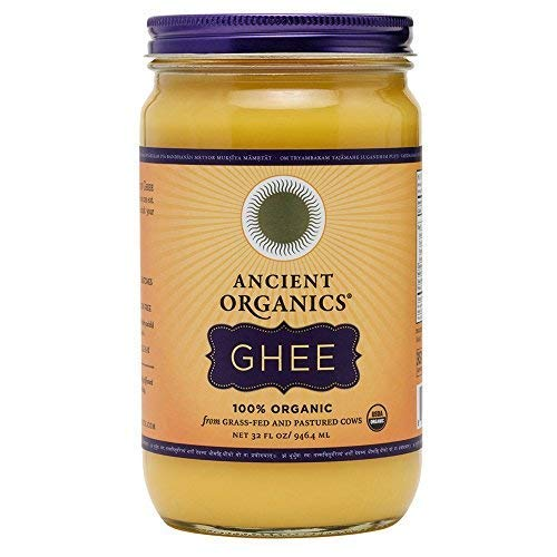 Organic Original Grass-fed Ghee, Butter by ANCIENT ORGANICS, 32 oz., Pasture Raised, Non GMO, Lactose - Casein - Gluten FREE, Certified KOSHER - 100% Organic Certified - USDA Approved (In Gift Box) by Ancient Organics