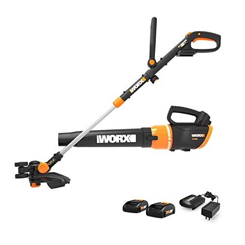 Worx WG954.1 20V Revolution Grass Trimmer/Edger and Turbine Blower Combo Kit with Two 20V (4.0Ah) Batteries, Charger