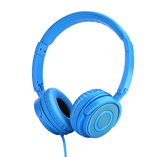 Vogek On Ear Headphones Lightweight and Foldable Bass Headphones with Volume Control and Microphone – Blue