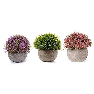 T4U 3PCS Artificial Plastic Potted Plant Fake Green Grass Faux Plant with Pot for Home Office Indoor Décor 93
