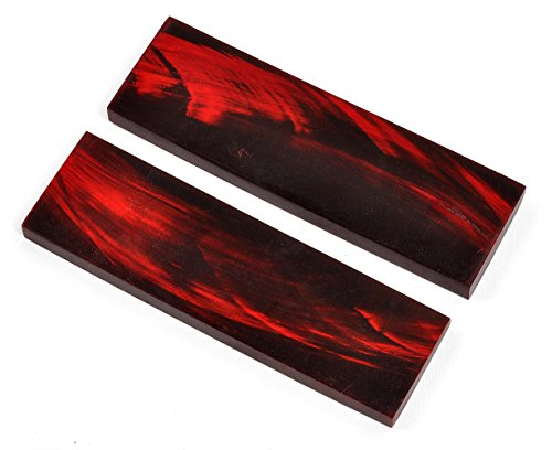 Dyed Red Water Buffalo Knife Handle Scales, 5