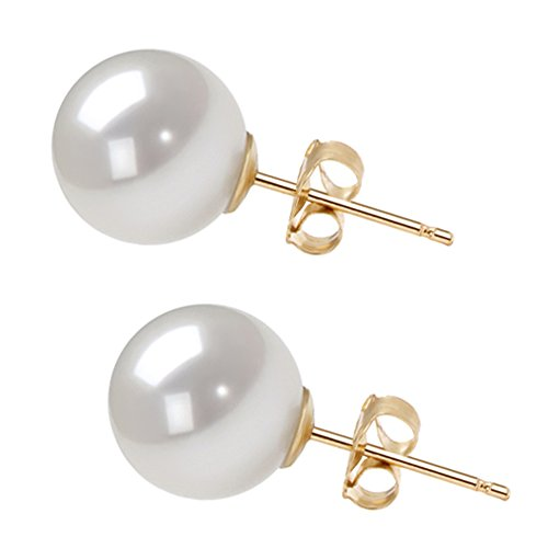 AAAA White Akoya Cultured Pearl Earrings Stud 14K Yellow Gold Settings Earrings Stud for Women