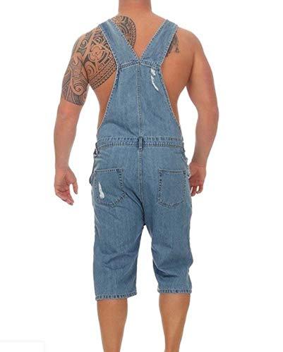 Hommes Bleu Domorebest Denim Dungarees Jeans Jumpsuit Combinaisons Short Mode Clair Retro 6qnzwPnd