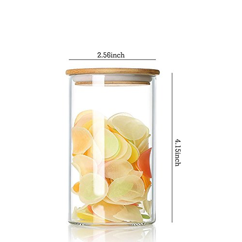 DecentGadget Glass Jar Storage Canisters Tea Containers Airtight Bamboo Sealing Lid (12-Ounce) (Airtight Container 12 Oz)