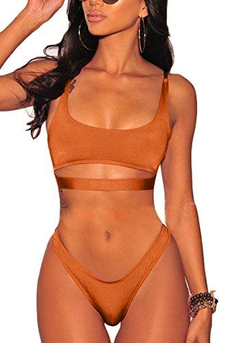LEISUP Womens Cut Out Cropped Top High Cut Thong Cheeky Sports Bikini Swimsuit Orange L -