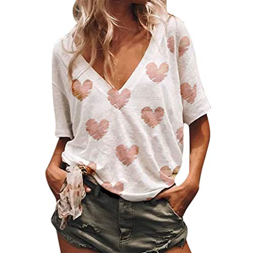 (Women's Criss Cross Casual Cami V neckShirt Top Basic Blouse Short Sleeve High Low Loose Heart Print T Shirt Basic Tee White)