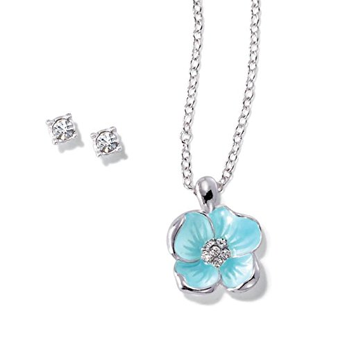 Avon Garden Beauties Collection Flower Necklace and Earring Set - Silver - One Size