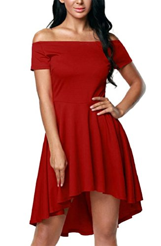 INewbetter Women's Casual Off Shoulder Short Sleeve High Low Party Cocktail Skater Dress
