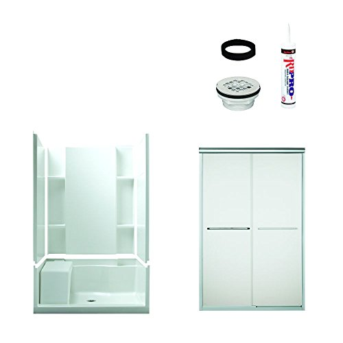 80%OFF Sterling Plumbing 7228-5475SF Accord Shower Package 48-Inch x 36-Inch x 74-1/2-Inch with Frosted Door Drain Kit, White/Chrome
