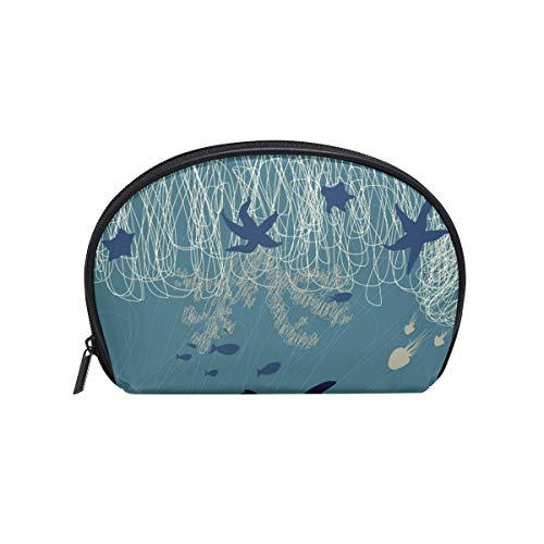 Makeup Cosmetic Bag Whale Dolphin Fish Seaworld with Zipper ()