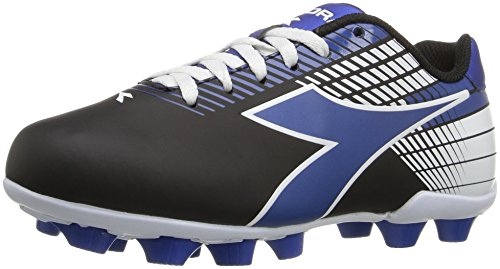 Diadora Kids Ladro MD Jr Soccer Shoe, Black/Blue/White, 11 M US Little Kid