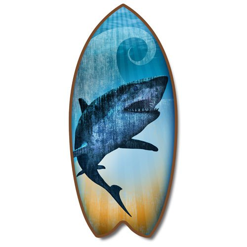 Weathered Tropical Shark Mini Surfboard Plaque Home Décor Accent 11 Inches