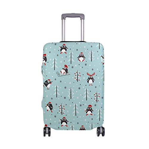 Christmas Tree Penguin Gift Travel Luggage Protector Case Suitcase Protector For Man&Woman Fits 18-32 Inch Luggage