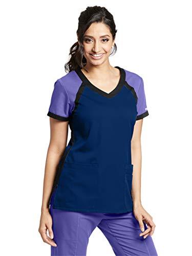 Grey's Anatomy Active 41435 Color Block V-Neck Top Indigo/Passion Purple/Black M