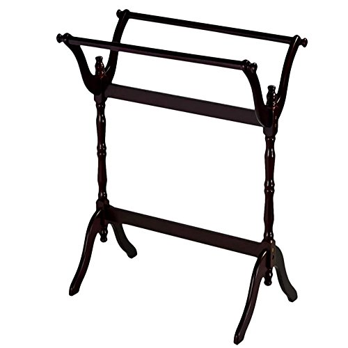 Quilt Racks Free Standing Wood, Contemporary Cherry Rustic Simple Traditional Two Bar Scroll Rack & E-Book by Quilt