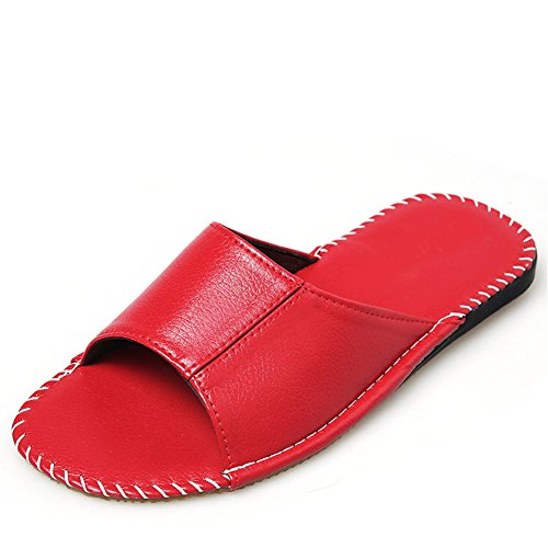 for Summer Autumn Floor Corium Wooden W Men Anti Smelly Spring TELLW Rouge Leather Cowhide Slippers Women tPSqt