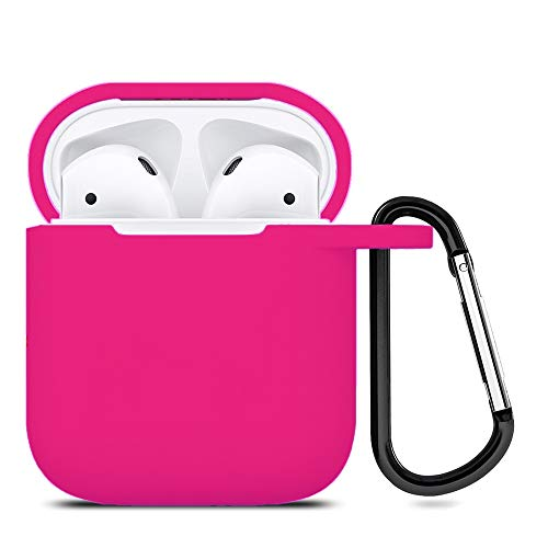 ZALU Compatible for AirPods Case with Keychain, Shockproof Protective Premium Silicone Cover Skin for AirPods Charging Case 2 & 1 (AirPods 1, Watermelon Red)