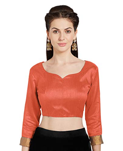 Women's Orange Art Silk Readymade Blouse Choli Mirchi Fashion Top