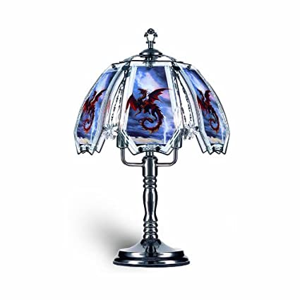 Ok Lighting Ok632us12sp3 23 5 Inch Height Touch Lamp With Red Dragon Theme Black Chrome