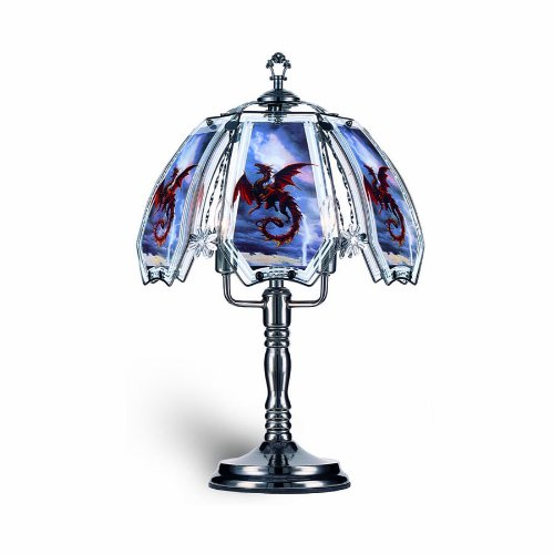 Red Dragon Lamp (OK Lighting OK632US12SP3 23.5-Inch Height Touch Lamp with Red Dragon Theme, Black Chrome)