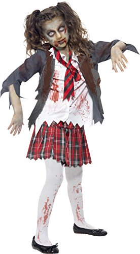 Smiffy's Children's Zombie School Girl Costume, Tartan Skirt, Jacket, Mock Shirt and Tie, Serious Fun, Ages 7-9, Size: Medium, (Zombie Costumes Women)