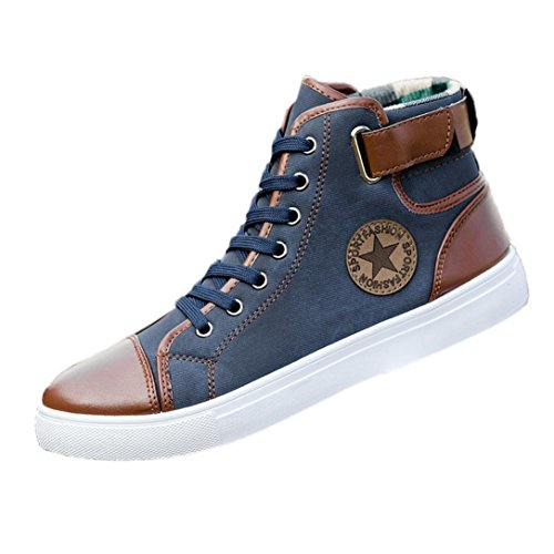Price comparison product image Haoricu_ Athletic Shoes Men Women Couple Shoes Causal Lace-up Ankle Boots Sneakers Casual High Top Canvas Shoes (37~47) (US:10,  Blue)